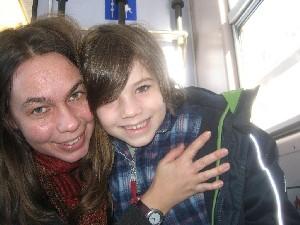 Caroline und ihr Sohn in Davos