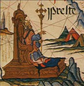 """""""Prester John"""" als Herrscher von Äthiopien, auf einer portugisischen Landkarte des 16. Jahrhunderts."""