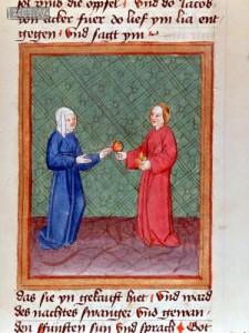 Lea und Rahel: Miniatur einer Wiener Weltchronik-Handschrift aus der zweiten Hälfte des 15. Jahrhunderts.