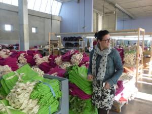Die berühmten grünen und violetten Bio-Baumwolltaschen.