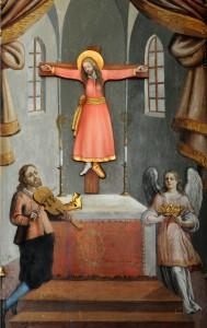 Sehr ungewöhnlich - eine Frau mit Bart am Kreuz, hier in der Lamprechtsburg bei Bruneck.